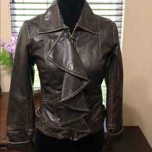 Jolt Brown Faux Leather Jacket Size Small
